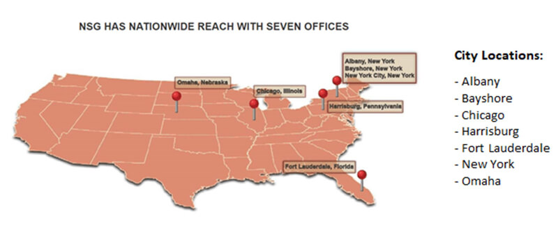 The map image whith seven offices locations: in Albany, Bayshore, in Chicago, in Harrisburg, in Fort Lauderdale, in New York, in Omaha